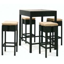 Барный комплект STELLA с подушками, cтол ja 4 стула, материал: алюминий с плетением из пластика, цвет: тёмно-коричневый 13141 Evelek