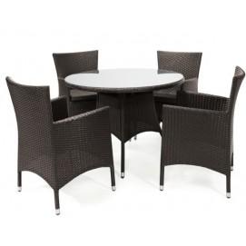 Комплект CAROLINA стол и 4 стула (21050), D100xH73см, столешница: 5мм калёное стекло, алюминий с плетением из пластика K21070 Evelek темно-коричневый