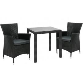 Комплект WICKER стол и 2 стула (12709), 73x73xH71см, столешница: закалённое стекло, алюминий с плетением из пластика K133461 Evelek черный