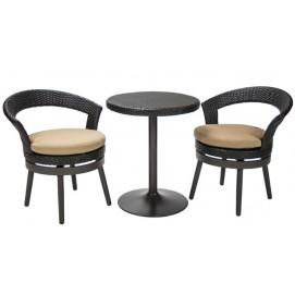 Комплект STELLA cтол и 2 стула D61xH75cм, рама: алюминий с плетением из пластика, цвет: тёмно-коричневый 13134 Evelek