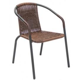 Стул RIVA 51x57xH73см, сиденье и спинка: пластиковое плетение, цвет: тёмно-коричневый, стальной каркас, цвет: антрацит 19523 Evelek