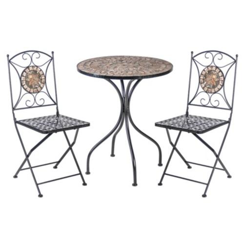 Комплект MOSAIC стол и 2 стула (38665), D60xH70cм K38664 Evelek черный