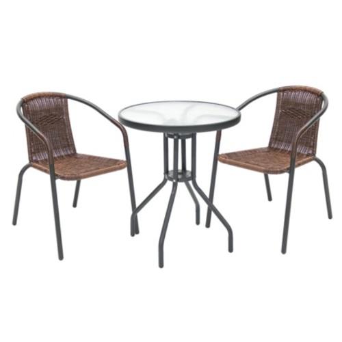 Комплект RIVA стол и 2 стула (19523), D60xH70см K19524 Evelek антрацит