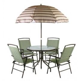 Комплект FAMILY стол, 4 стула и зонт от солнца, стальная рама, цвет: коричневый 08834 Evelek