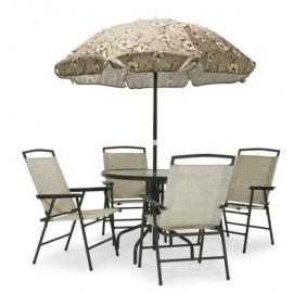 Комплект FAMILY cтол, 4 стула и зонт от солнца, стальная рама, цвет: коричневый 08837 Evelek