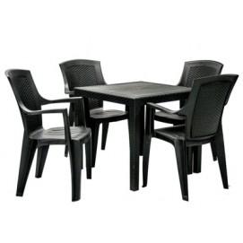 Комплект KING стол и 4 стульев(87101), 79x79xH72cм K052024 Evelek антрацит