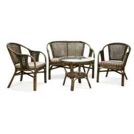 Комплект BRAZIL с подушками, стол, диван и 2 стула 10379 Evelek натуральный