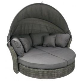 Раскладной садовый диван MUSE-2 с навесом и с подушкой, рама: алюминий с плетением из пластика, цвет: серый 11900 Evelek