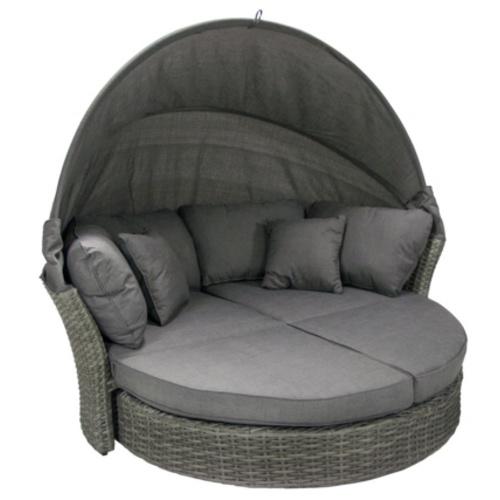 Раскладной садовый диван MUSE-2 с навесом и подушками темно-серый 11900 Evelek