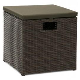 Тумба-пуфик WICKER 40x40xH38см, алюминиевая рама с пластиковым плетением, цвет: тёмно-коричневый 27679 Evelek
