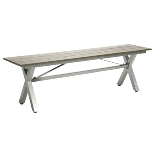 Скамья CERES, 145x34xH44см, сиденье: искуственное дерево, цвет: серый, скрещёная ножка из алюминия, цвет: серый 21055 Evelek