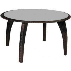 Стол WICKER, 120xH70см cтолешница: серое стекло, рама: алюминий с плетением из пластика, цвет: темно-коричневый 12697 Evelek