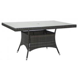 Стол WICKER 150x100xH74cm, рама: алюминий с плетением из пластика, цвет: темно-коричневый 11984 Evelek