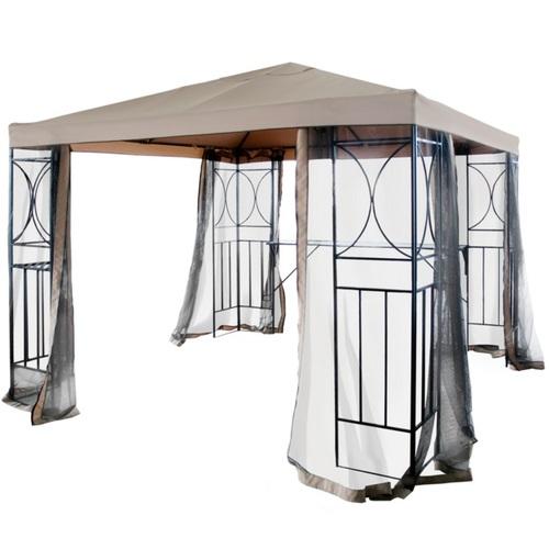 Шатёр SHADY 3x3м, стальная рама, цвет: чёрный, крыша и стенки: PA покрытием полиэстерткань, цвет: бежевый 09346 Evelek