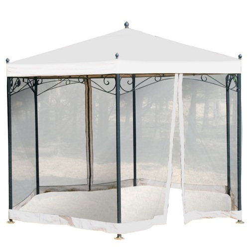 Шатёр PERGOLA шестиугольный, д3,5м,стальная рама, крыша: ткань полиэстер с покрытием PVC, цвет: бежевый, стенка: чёрная 0564 Evelek