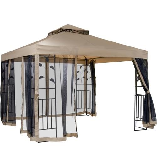 Шатёр LEAF 3x3м, стальная рама, цвет: тёмно- коричневый, крыша: полиэстер ткань, цвет: бежевый 11878 Evelek