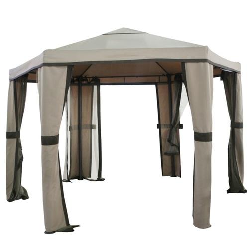 Шатёр SAHARA шестиугольный, 1,8x1,8x1,8м, рама из алюминия, цвет: коричневый, крыша и стенки: полиэстерткань, цвет: бежевый 09345 Evelek