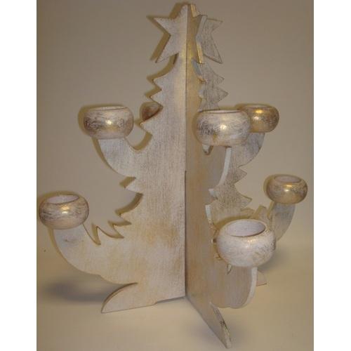 Ёлка -подсвечник белая,40см  20034