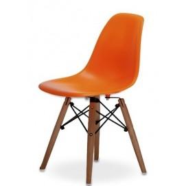 Стул Eames детский ножки деревянные оранжевый iCOO