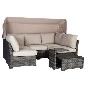 Комплект  VALORA диван с навесом, 2 кресла, пуф и столик 12127 Evelek серый