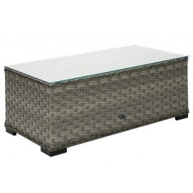 Столик кофейный со стеклом GENEVA темно-серый 11906 Evelek