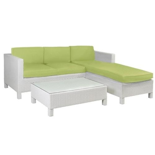 Угловой диван со столом QUEENS с подушками 12892 белый Garden4You