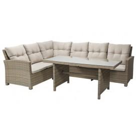 Комплект BERKELEY с подушками, стол и угловой диван серый 21045 Evelek