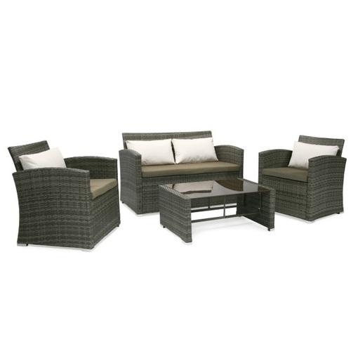 Комплект VIKI с подушками, стол, диван и 2 кресла коричневый 11877 Evelek