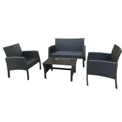 Комплект VIOLET с подушками, стол, диван и 2 кресла черный 19364 Evelek