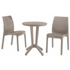 Комплект Bistro (стол+2 стула) 604844 Evelek капучино