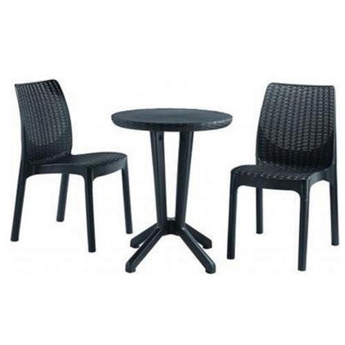 Комплект Bistro (стол+2 стула) 604844 Evelek черный