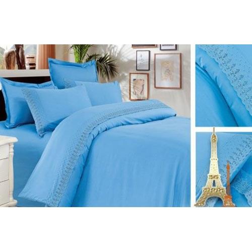 Постельное белье голубой полуторное Love You