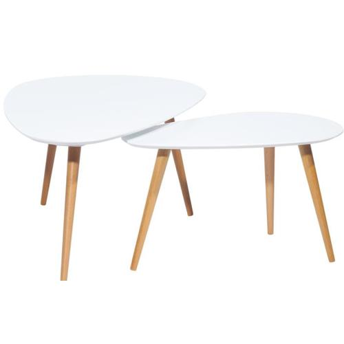 Набор столиков 2шт Fly F5 белый+дуб Kordo