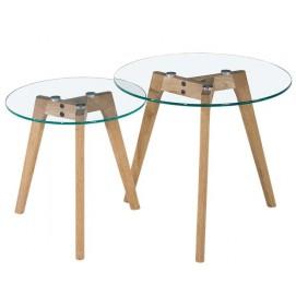 Набор столиков 2 шт Glass G5 стекло+дуб Kordo