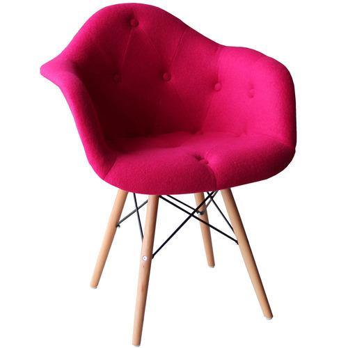 Кресло Paris wool розовое шерсть ноги дерево Primel с браком