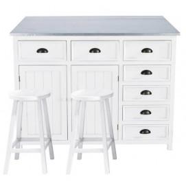 Стол для кухни+2 стула Newport белый 120 см 129832 Maisons