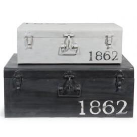 Набор сундуков L 57 et L 66 cm KANSAS белый и черный 130871 Maisons