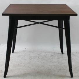 Стол обеденный Tolix MC-80W  80х80 черный+столешница дерево темный орех Primel