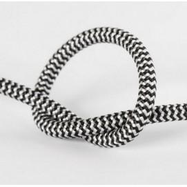 Провод в тканевой оплетке арт.275 черно-белый Pikart