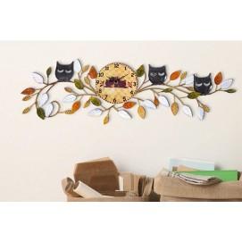 Декоративное кованное украшение для стен с часами, Р4-5 73х22 см Clock цветное