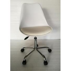 Стул офисный HY128-R белый пластик+белый кожзам Primel