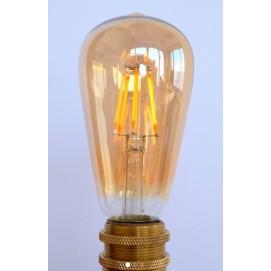 LED лампочка Эдисона ST64 8W 4000K Amber янтарное стекло