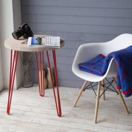 Стол кофейный CIRCLE SMALL (D600, 3ROD) HairpinlegsUA красный