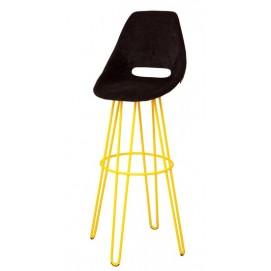 Стул барный TRAM BAR CHAIR Hairpinlegs чёрный, ноги жёлтые