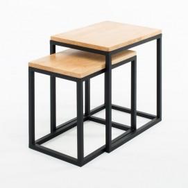 Набор столиков 2 шт Снек натуральный Anri ноги черные