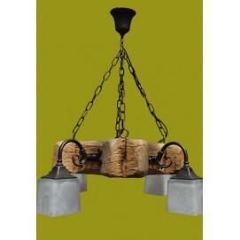 Люстра из дерева ISFIR рамка (4 плафона) 728 коричневая