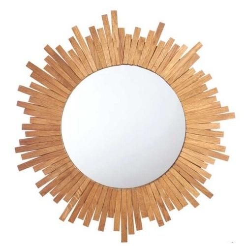 Зеркало в раме Солнце 50 см натуральное SS000471 Woodville