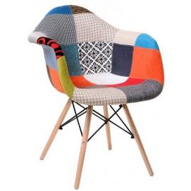 Кресло М-02 patchwork цветное ноги дерево Verde