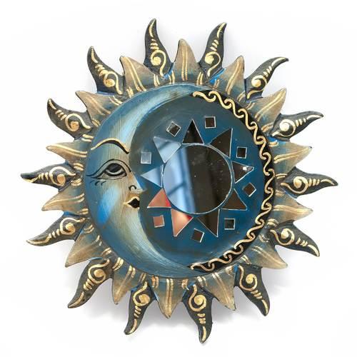 "Зеркало мозаичное ""Солнце и Луна"" (d-20 cм) синее"