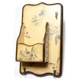 """Ключница вешалка """"Оливка"""", с ящиком натуральная 30361"""